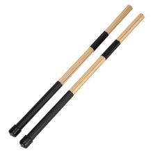 "Free shipping drums percussion 1 Pair 15.7"" 40cm Jazz Drum Brushes Drum Sticks Bamboo Black drum accessories H1E1"