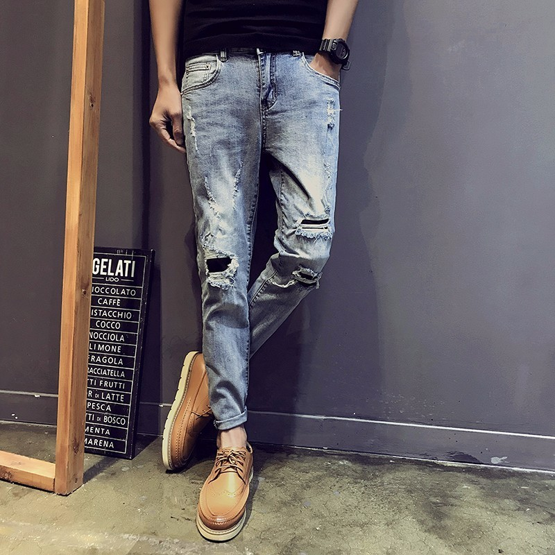 2018 Spring New Mens Korean Style Fashion Tide Classic Denim Holes Pants Slim Fit Blue Color Casual Jeans Trousers Size 28-34