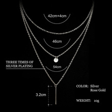 European Simple Gold Silver Plated Multi Layers Bar Coin Necklace