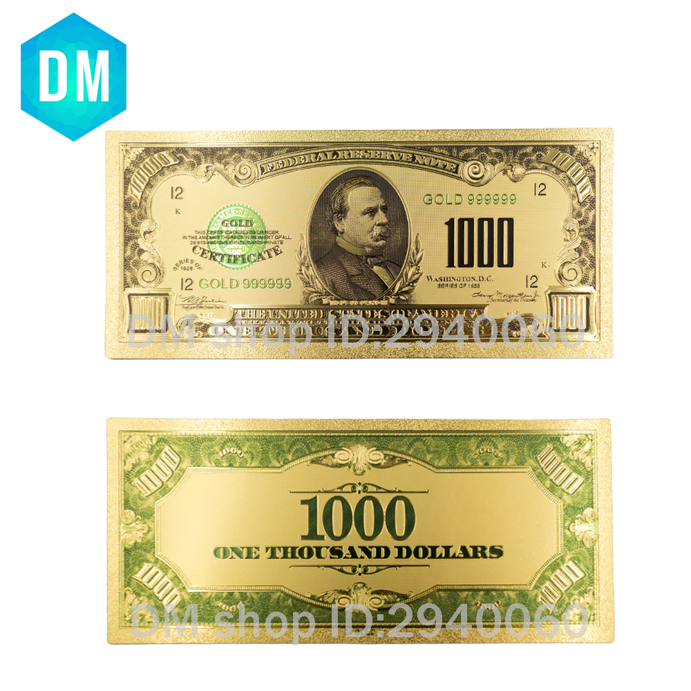 US $1 71 20% OFF|1918 Year World Paper Money Banknotes USA 1000 Dollars  Gold Foil Banknote Bill American Design-in Gold Banknotes from Home &  Garden