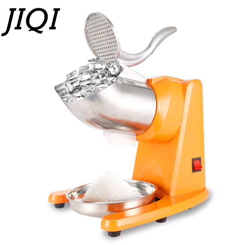 JIQI 95kg/H Stainless Steel Electric Ice Crusher Double Blade Smoothie Slush Block Breaking Maker Snow Cone Grinder 110V 220V