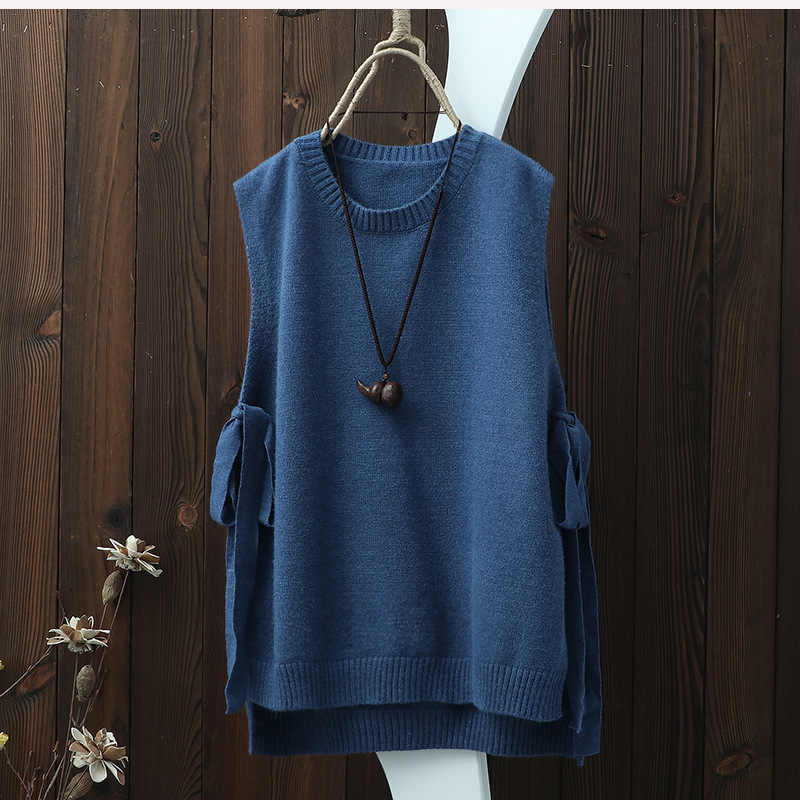 0725 Spring O Neck Pullover Sleeveless Knitted Vest Women Plus Size Side Bandage Thin Hollow Out Loose Side Split Waistcoat in Vests amp Waistcoats from Women 39 s Clothing