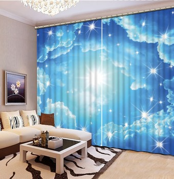 High Quality Customize size Modern blue sky custom curtain fashion decor home decoration for bedroom living room curtain