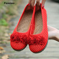FAMIAO Ventilation women flats comfortable solid shoes round toe new fashion chaussure femme spring autumn Weave zapatos mujer