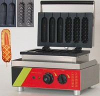 6pcs Two Shape 110v Or 220v Electric Commercial Waffle Hotdog Maker Waffle Dog Iron