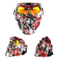 Per Nerf Giochi di Guerra 18 centimetri Galvanotecnica Skull Tattico Viso Maschera con Occhiali Antivento per Airsoft Halloween Giocattoli All'aria Aperta