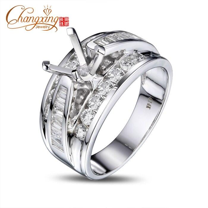 6.5mm Round Cut Vinage Style Diamond Semi Mount Mens Ring 14k White Gold