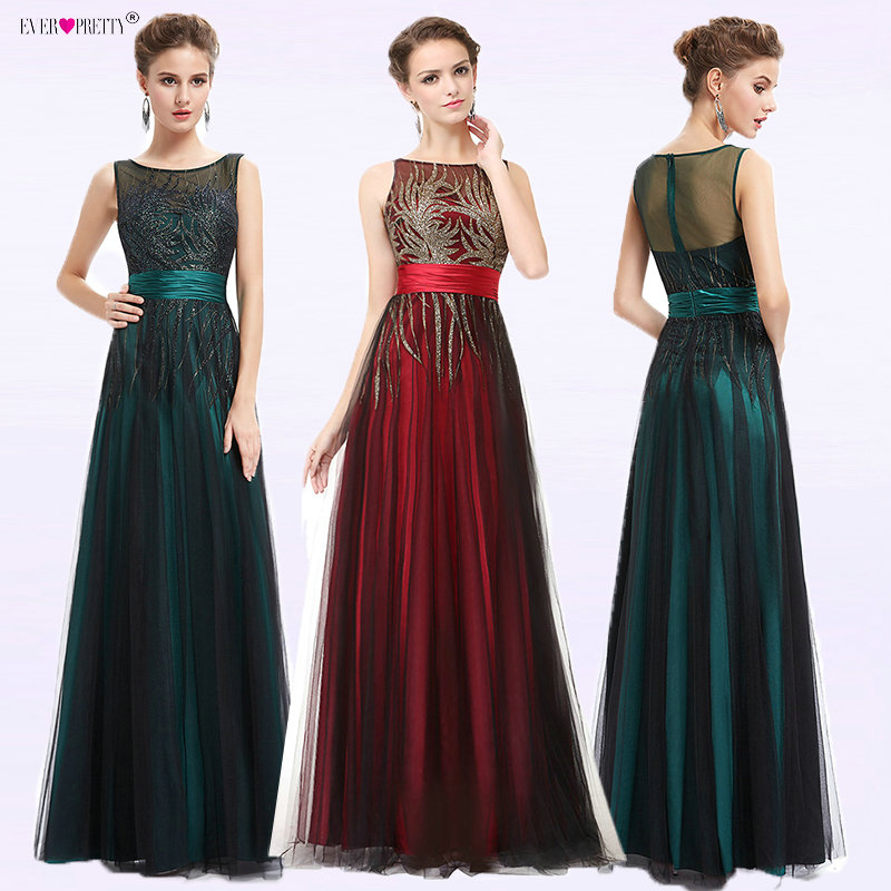 3c1e11613d07 Elegant Evening Dresses A Line Sleeveless Green Ever Pretty EP08740 Evening  Round Neck Long Dresses Women 2018 New Arrival Gowns-in Evening Dresses  from ...