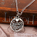 2016 New Daughter Son Love Women Necklace Pendant Mothers day Gift,Silver Plated Fashionable Super Mom Necklace Family Love