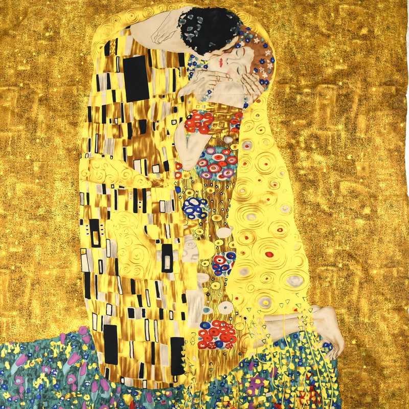 Oil Painting KISS 100% Twill Silk   Scarf     Wraps   Women's Fashion Silk Shawl Head   Scarves   Hijab 35