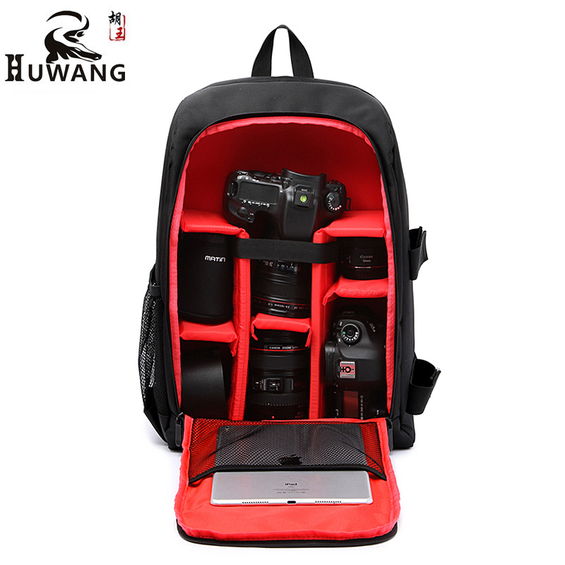 HUWANG Upgrade Waterproof DSLR Photo Padded Backpack w/ Rain Cover for 15.6 Laptop Multi-functional Camera Soft Bag Video Case jkbw new arrival 44 x 30 x 19cm camare bags waterproof multi functional backpack soft video camera bag for photographer