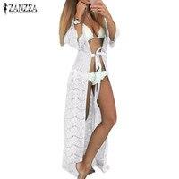 ZANZEA Autumn 2016 Women Dress Beachwear 3 4 Sleeve Cardigan Long Maxi Dress Vestidos Sexy Lace