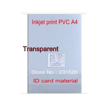 Transparent ID Cards Printing material, Blank Inkjet print <font><b>PVC</b></font> <font><b>sheets</b></font> A4, 50sets,Single side print, 0.43mm thick image