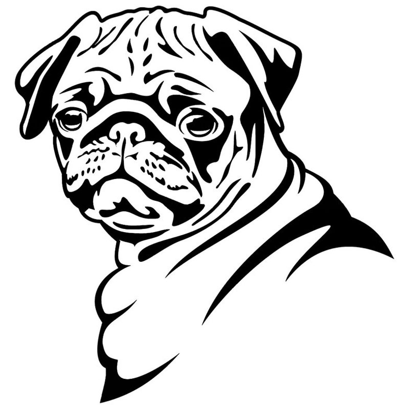 13.8*14.5CM Pug Dog Car Stickers Funny Cute Vinyl Decal Car Styling Bumper Accessories Black/Silver S1-0817 usb powered funny cute stress relieving humping spot dog toy brown chocolate white