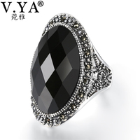V.YA Adjustable 925 Silver Big Ring For Women Black Red Stone Jewelry Vintage Anniversary Party Rings High Quality