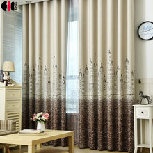 French curtains bedroom Castle princess beige and Blue Cloth Sheer tulle Curtains for the hall curtains for living Room WP230C(China)
