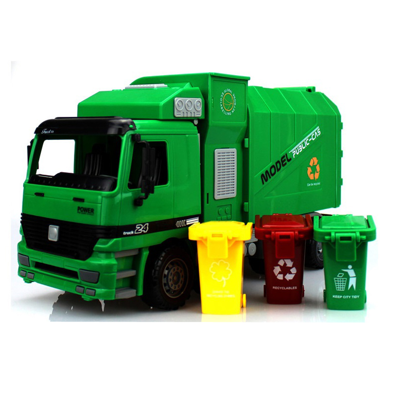 ФОТО Big Size Jumbo Children's Large Man Side Loading Garbage Truck Can Be Lifted With 3 Rubbish Bin Toy Car Wholesale children gift
