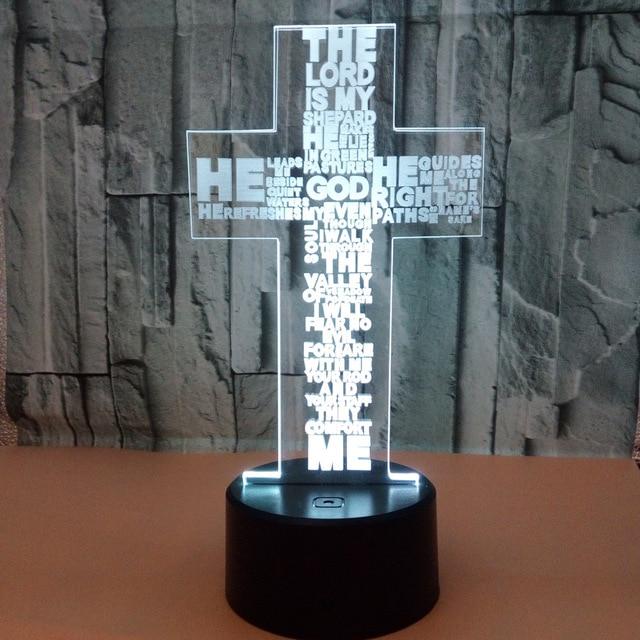 Cross 3D Lampu Colorful LED USB 3D Visual Lampu Malam Luminaria De Mesa Baru 3D Lampu Kamar Anak LED cahaya