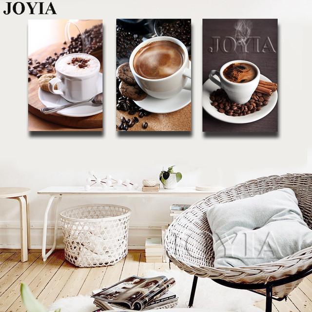 3 Piece Modern Coffee Canvas Art Painting Pictures Bean Wall For Living Room Cuadros
