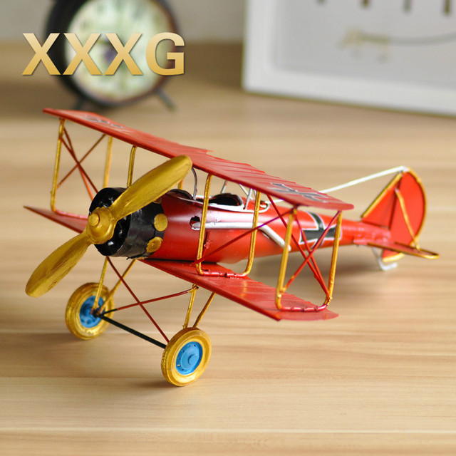 XXXG Vintage Aircraft Model Iron Home Furnishing Small Living Decor Decoration Room Photography