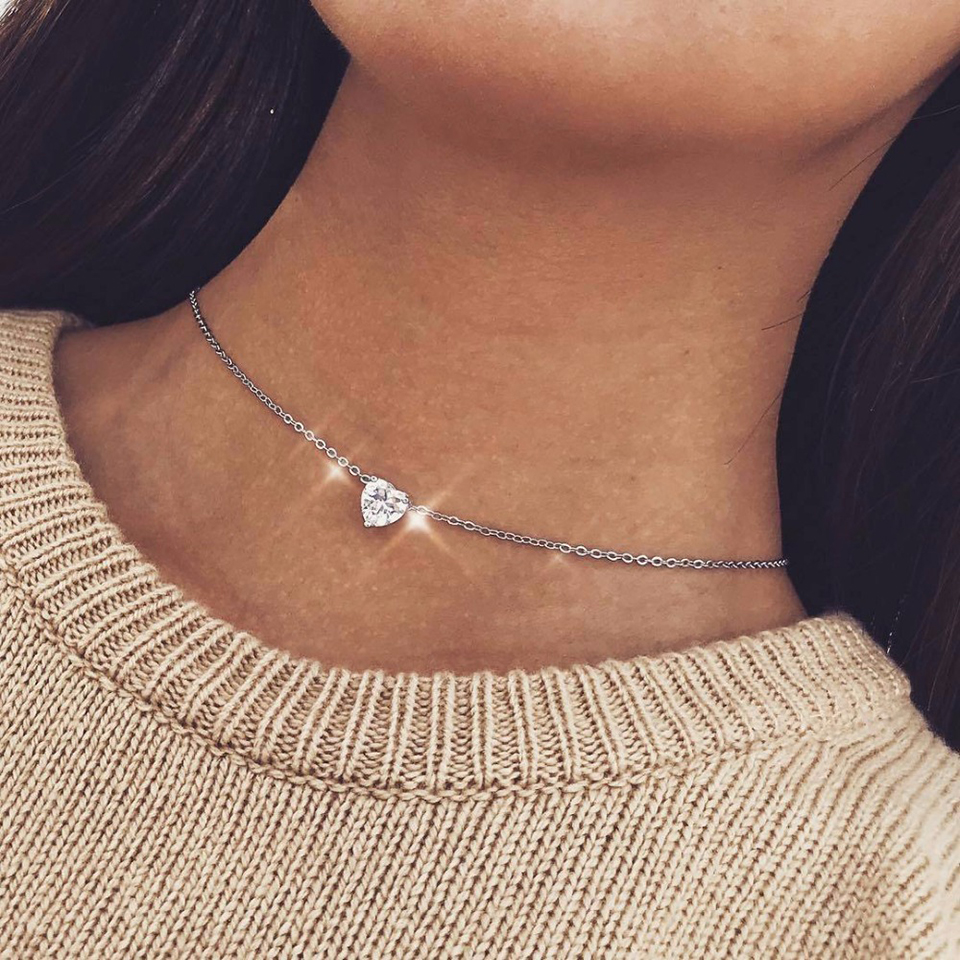 Crystal-Heart-Necklace-Pendants-For-Women-Short-Gold-Necklace-Chain-Pendant-Necklace-Crystal-Heart-Choker-Necklace