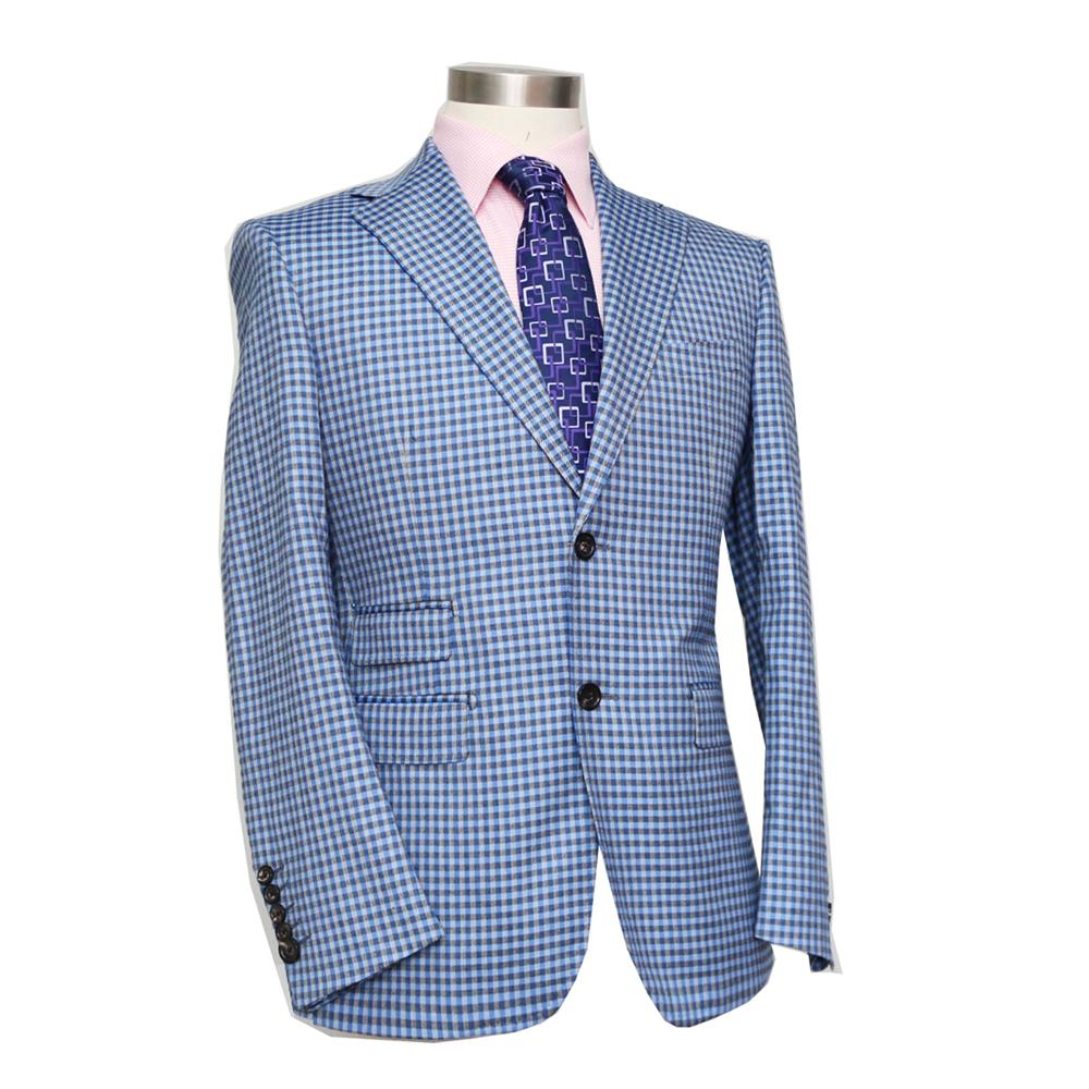 pure wool small blue plaid two-piece business casual suit, grey/blue, bespoke custom tai ...