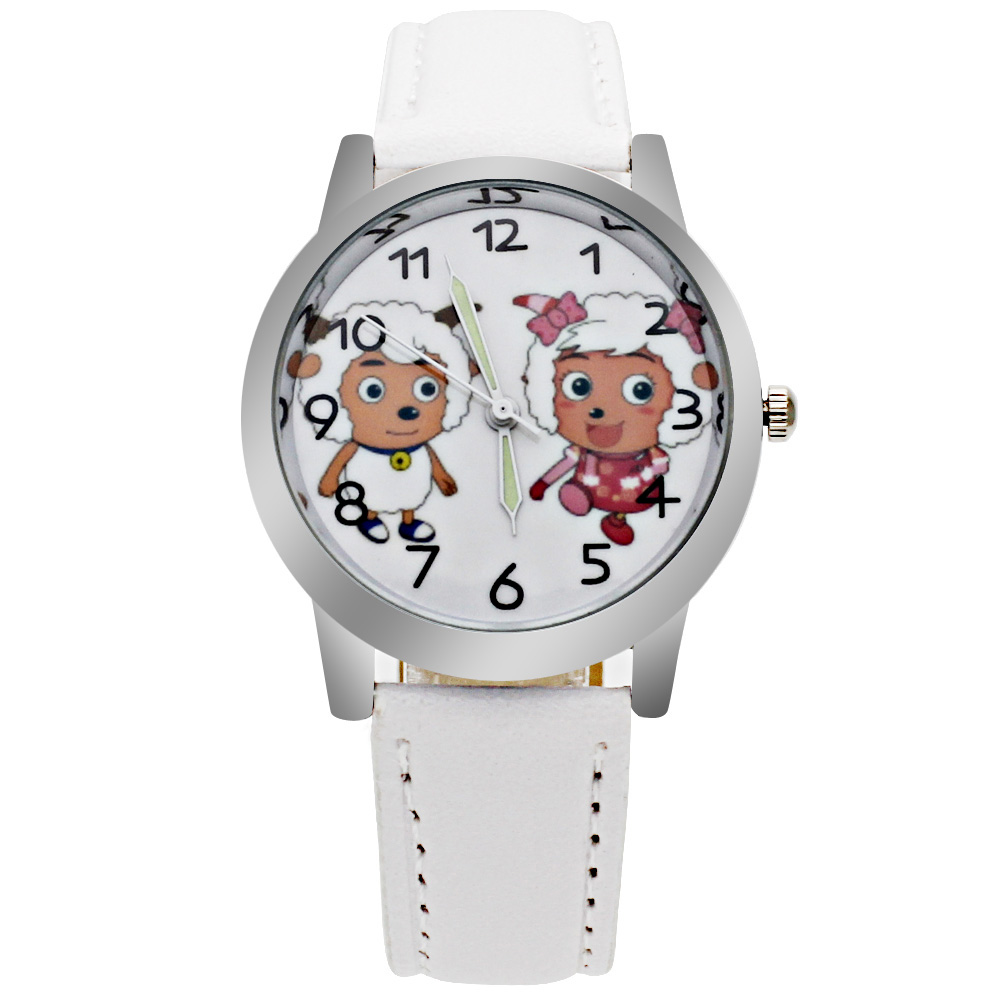 Fashion 4 Color Boy Girl Watch Cute Animal Sheep Casual Quartz Leather Children Creative Clock Student Baby Wristwatches