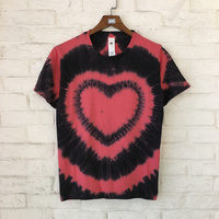 2018 Summer Style Top Quality Tie Dyed Heart Printed Women Men T Shirts Tees Hiphop Streetwear