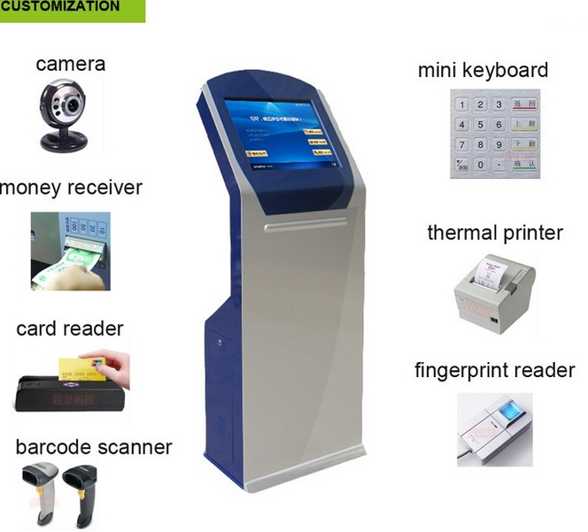 WIFI Touch screen self service with thermal printer payment terminal atm kiosk Ticket Vending Machine Payment kiosk printer