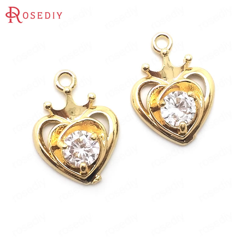 (36434)10PCS 16x12MM 24K Champagne Gold Color Brass with Zircon with Crown Heart Shape Charms Pendants Diy Jewelry Findings