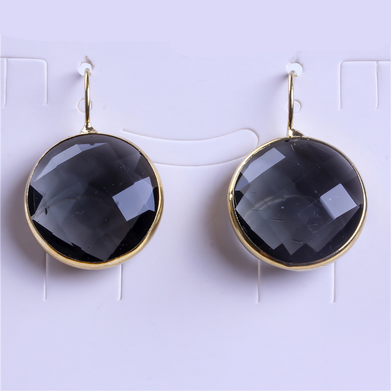 Charms Jewelry Multi Color Red Black Brown Blue Round Oval Triangle Shape Glass With Pure Gold Color Rim Women Dangle Earring