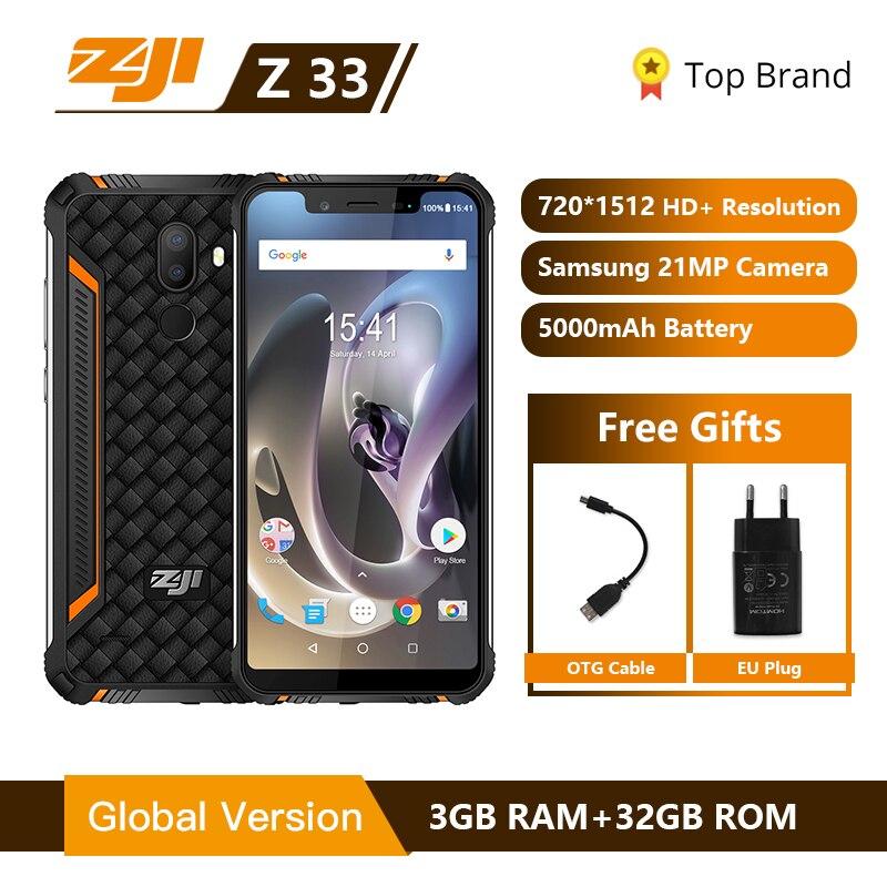 Mondial Version HOMTOM ZJI Z33 IP68 Étanche Smartphone 5.85 pouces MT6739 Quad Core 4600 mAh Visage ID 4G ZJI z33 Mobile Téléphone