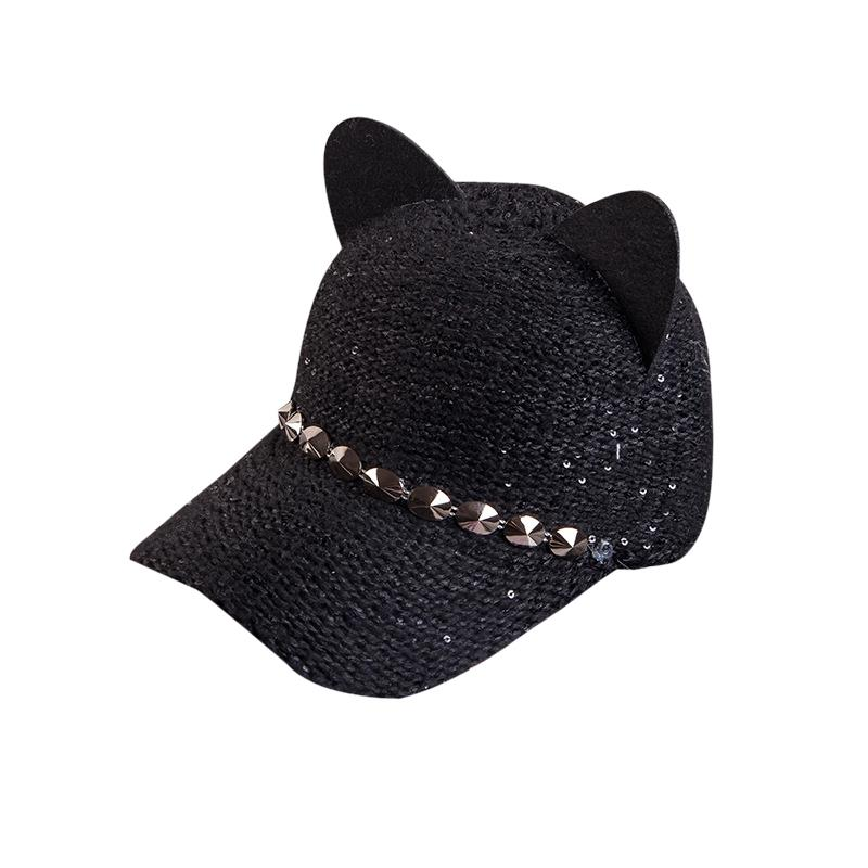 Women's Baseball Caps Fashion Bowknot Spring Baseball Cap Women Cat Ear Pattern Sequin Hip Hop Hats Sun Cap Sequin Black Pink Baseball Caps To Make One Feel At Ease And Energetic Apparel Accessories