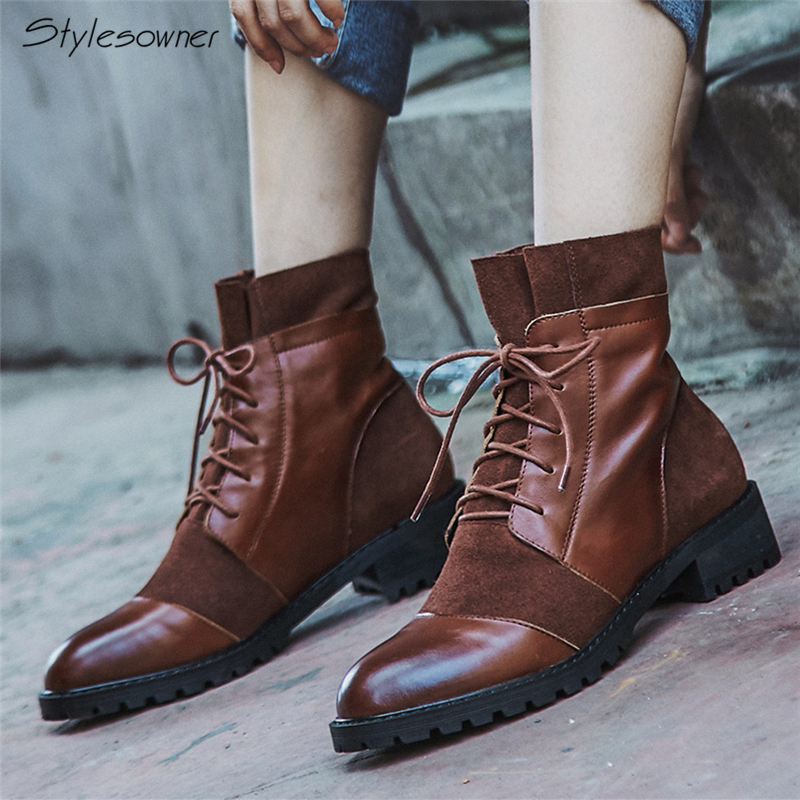 Stylesowner Women Retro Lace Up Ankle Boots Real Leather Peated Short Botas Female Chunky Heels Shoes Laces For Girls WinterBoot stylesowner genuine leather laces women boots chunky heels mesh short boots big size ladies shoes 2018 new arrival see through