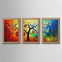 DHL Newest Hand Painted On Nature Linen 3 pcs/set With Frame Modern Abstract Tree Oil Painting Wall Art Picture Home Decoration