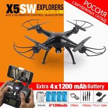 Syma X5SW X5SW-1 FPV Радиоуправляемый квадрокоптер Радиоуправляемый Дрон с Wi-Fi Камера 2,4 г 6 оси дроны вертолет для детей игрушки с 5 Батарея