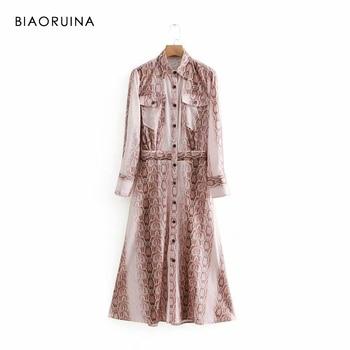 4679a05b8d7aee6 BIAORUINA Женские винтажные змеиные длинное платье с принтом Turn-Down  Воротник однобортный женское Повседневное платье А-силуэта Vestidos