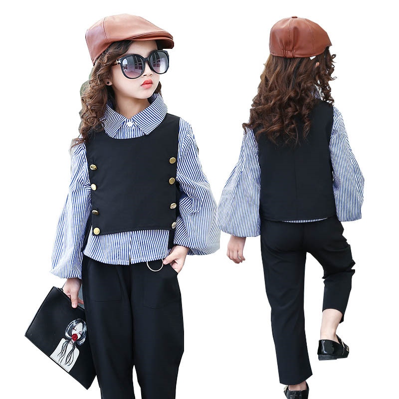 Girls Clothing Sets Girl Fashion Suit Teenage Girls Clothes School Children Clothes Striped Shirt Vest Kids Clothes Suit Q141 2018 new girls clothes set summer baby girls clothes vest pants children suit for kids girls clothing suit