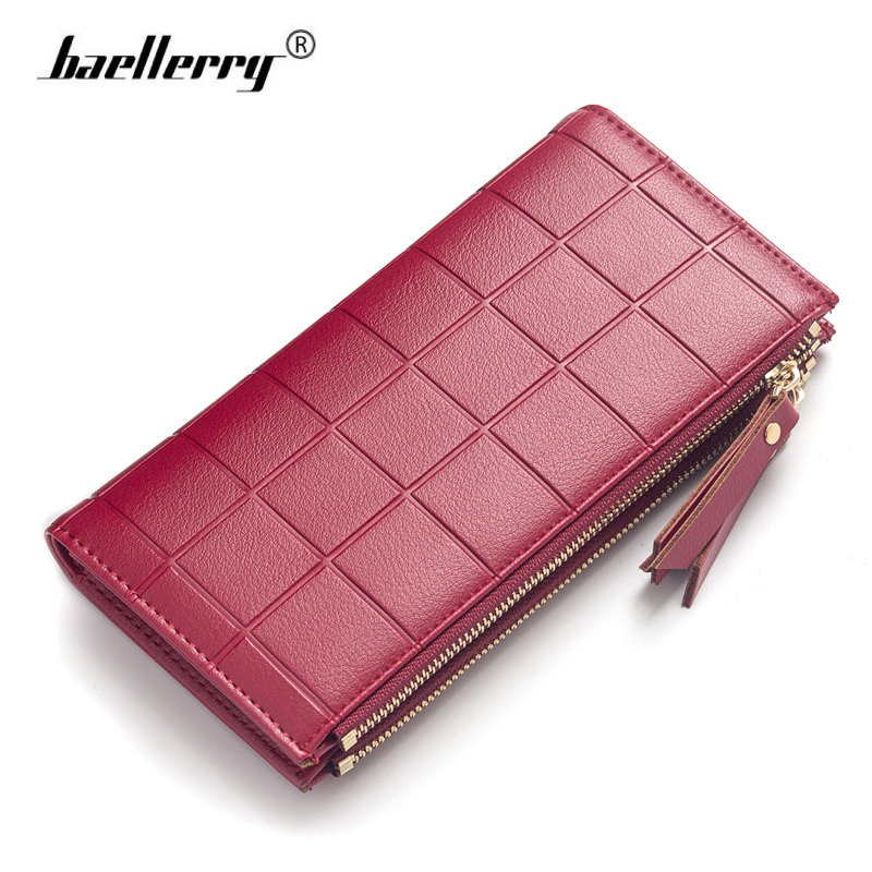 Baellerry Double Zippers Women Wallet Female Long Leather Embossed Coin Purse Women Phone Clutch Bag Credit Cards Holder Wallets pu leather wallet heels wallet phone package purse female clutches coin purse cards holder bag for women 2415