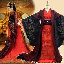 Traje de boda Hanfu rojo bordado de la Dinastía Han tradicional para la televisión de la Reina virtuosa de Han Weizifu