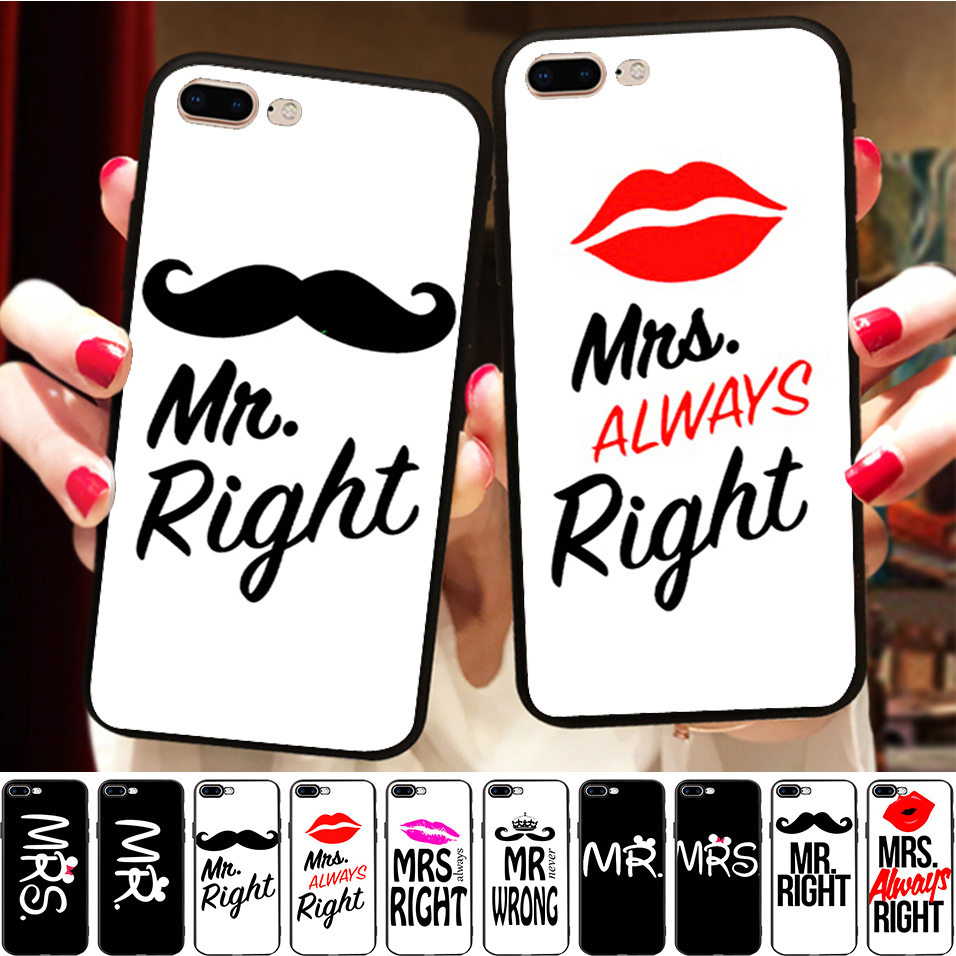 Lipstick Mr Mrs Always Right BFF Couple Black Soft Silicon Case Cover For <font><b>Samsung</b></font> Galaxy S7 edge <font><b>S8</b></font> S9 <font><b>Capinha</b></font> <font><b>de</b></font> <font><b>Celular</b></font> image