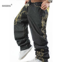 SHIERXI Fashion Tide Man Jeans Pants Embroidery HIPHOP Street Dance Leisure Loose Losing Weight Plus Size