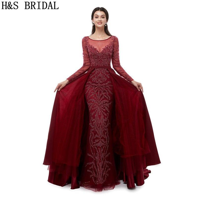 H & S manches longues bordeaux robes de bal perlée formelle robe de soirée sirène robe de bal robe de soirée 2019 bleu marine robe de soirée