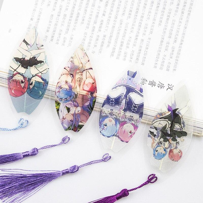 Cheap Anime Re Zero Kara Hajimeru Isekai Seikatsu Bookmarks Waterproof Transparent PVC Plastic Bookmark Colorful Bookmarkers