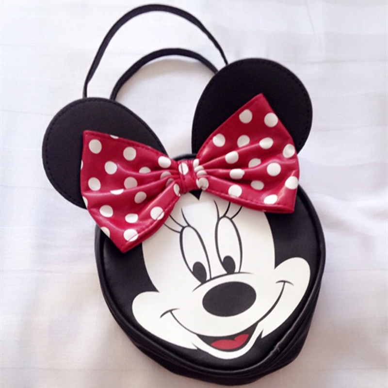 Children Mickey Cartoon PU Top-handle Bag Big Red Bow Bags for Kids Cute Mouse Smile Girls Totes Lolita Style Baby Fashion