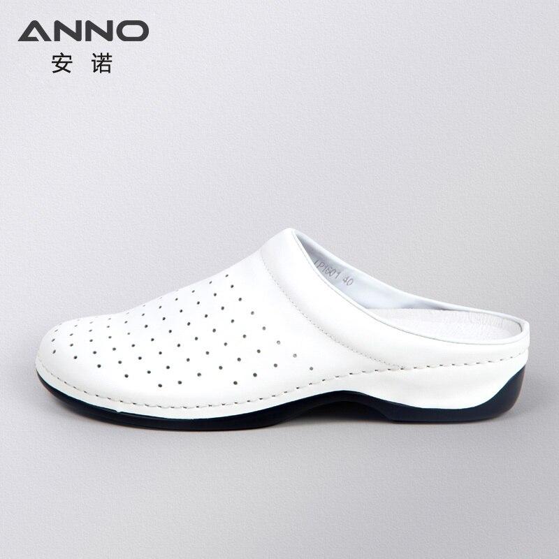 ANNO White Leather Classic Nurse Shoes