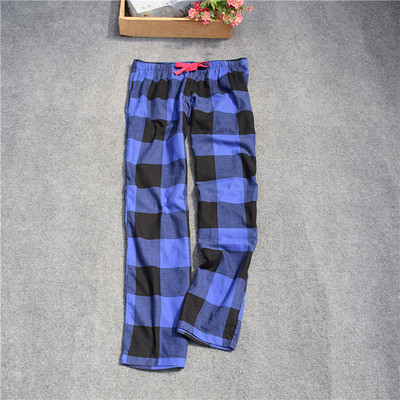 Женские брюки; длинные брюки; тканые хлопковые брюки для сна; женские брюки - Цвет: Blue black Big grid