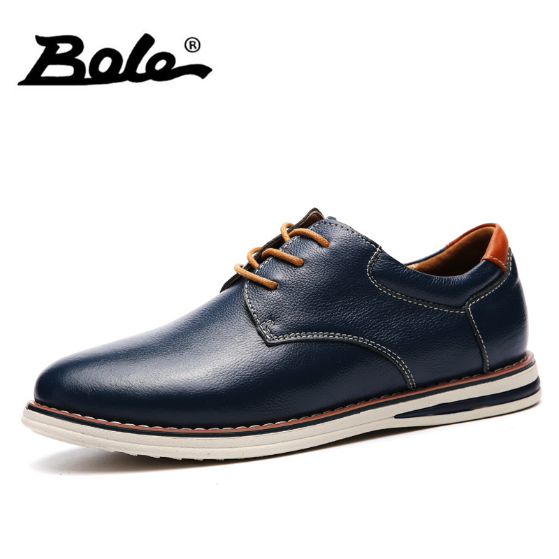 BOLE Large Size 36-47 Men Leather Shoes 2017 Autumn New Lace Up Breathable Men Loafers Round Toe Men Casual Shoes Flat Shoes Men men s brogue shoes fashion brown pointed toe leather shoes breathable lace up men casual shoes moccasins size 38 43 8205m