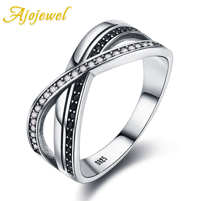 Ajojewel Double Layer Cross Shape Finger Ring for Women New Collection 925 Sterling Silver With Clear CZ Vintage Jewelry Gifts