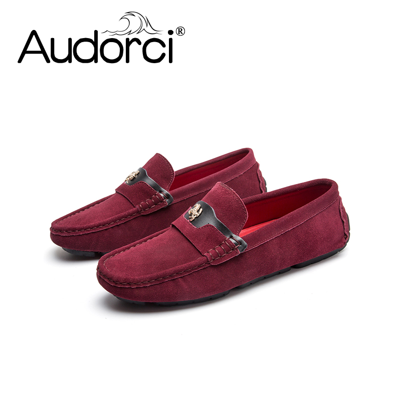 Audorci 2018 Men's Fashion Handmade Loafers Peas Shoes Spring Man Casual Boat Driving Shoe Men Light Flats Size 38-44 men shoes genuine leatehr driving loafers moccasins xgvokh brand mens casual leisure fashion casual boat flats shoes for man